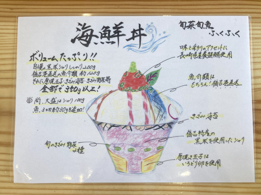 写真:旬菜旬魚ふくふくの海鮮丼解説メニュー